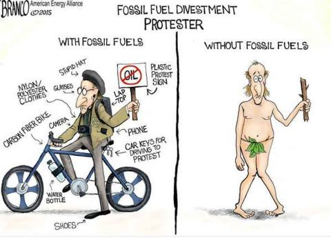 Activist with and without fossil fuels